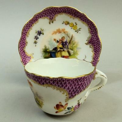 Antique Vienna Hand Painted Porcelain Cabinet Cup & Saucer C.1880