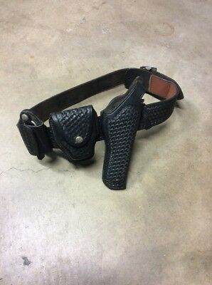 Safety Speed Montebello Black Basketweave Leather Sam Brown Belt W/ Holster