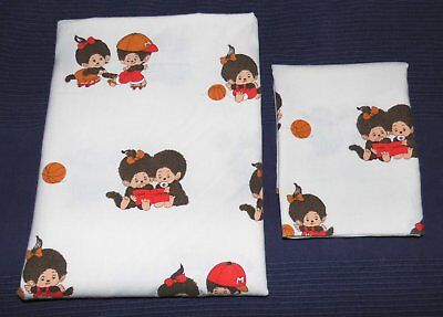 Monchhichi Kinder Bettwäsche 100x135 vintage 70er fabric bedding 70s Monchichi