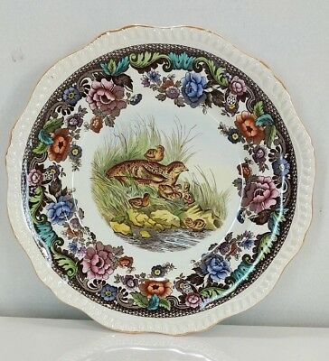 Spode England Grouse No.19 Transferware Dinner Plate In Colors