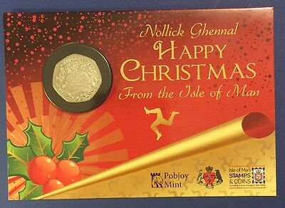 2016 Isle of Man Christmas 50p Fifty Pence Coin  Pudding in Gift Card BUNC