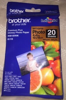 "BROTHER  4"" x 6"" 10 x 15cm Premium Glossy Photo Paper - 20 Sheets"