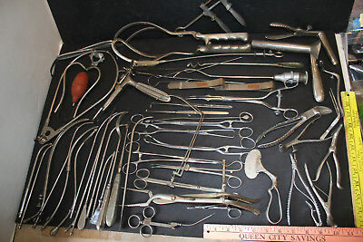 Lot of 50+ Antique and Vintage Medical Instruments Forceps clamp cutters
