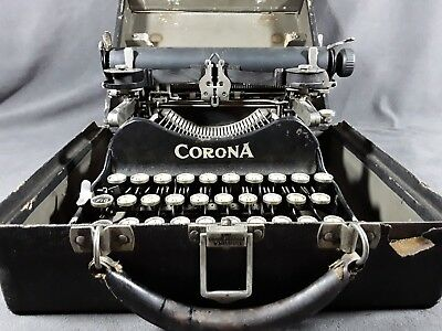 Antique Corona 3 Folding Typewriter In Case Good Condition 1910