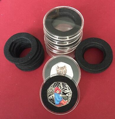 5 X 38mm Clear Plastic Capsule Holder Insert Foam (NO COIN ) For Small 50p Coin