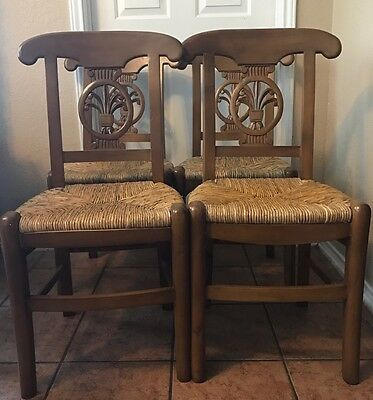 Vintage French Country (4) Carved Back Rush Seated Chairs
