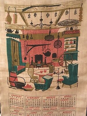 Vintage Pure Linen 1965 Dish Towel Calender Country Prints Wert By Hand
