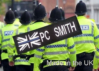 Thin Blue Line White Union Jack Police Name  Badge / Sew On Patch  Only £3.99
