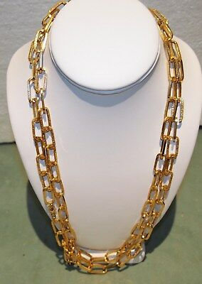 """Gold Necklace  L= 52.25"""" 2 Chains  14Kt Gorgeous Details Hand-Made -22.5 Gram"""