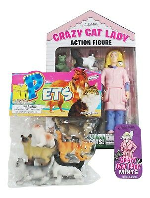 Crazy Cat Lady Action Figure Cats Mint Candies Toy 6 Kittens Accoutrements Gift