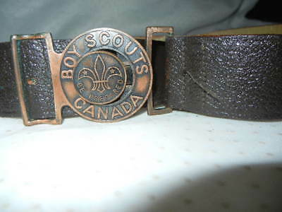 """Boy Scouts Canada Official Cow Hide Leather Belt 28"""" Waist Good  Condition"""