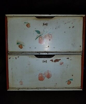 Vintage 1940s 1950s Tin Double Door Bread Box Red And Wihite Apples Design