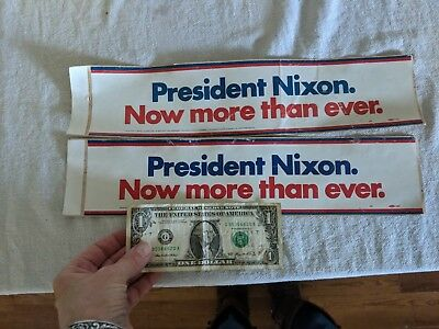 Pair PRESIDENT RICHARD NIXON - NOW MORE THAN EVER CAMPAIGN BUMPER STICKERS