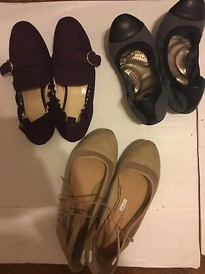 Lot Of 3 Women's Burgundy Grey And Black Cream Flats Shoes Size 8