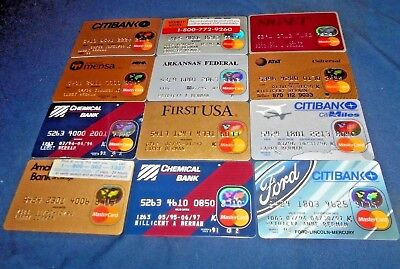12 expired vintage Mastercard credit card lot for collectors 1990s NM-M