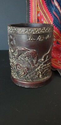 Old Cast Chinese Bitong / Brush Pot …beautiful display item