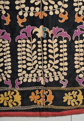 "Antique Uzbek Lakai silk embroidery coverlet Suzani textile 48""x45"" tapestry"