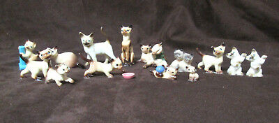 Lot of 15 Porcelain and Bone China Cat and Kitten Figurines