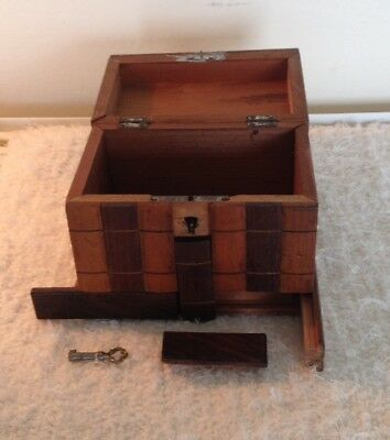 Antique Inlaid Wooden Box With Secret Compartment & Key