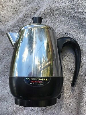 Farberware Superfast Automatic Stainless 2-6 Cup Percolator Coffee Pot 134B