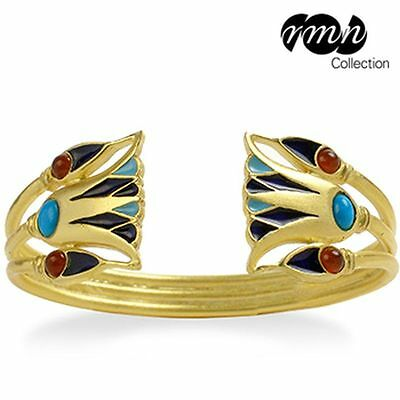 Egyptian Lotus Flower Cuff Bracelet Gold-Plated with Turquoise Carnelian Beads