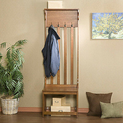 Oak Entry Bench Hall Tree Wood Coat Rack Shoe Storage Hats Stand Entryway Chair