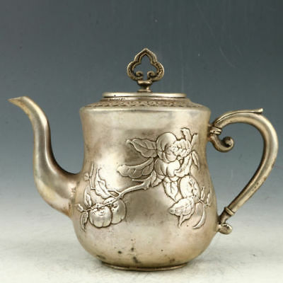 Chinese Exquisite silvering copper (万事如意) Teapot Qianlong Mark