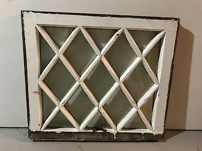 "c1900 Antique MISSION TUDOR Diamond Glass Pane Wood Window Sash 24"" x 21.5"" (A)"