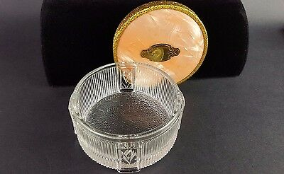 Mid Century Vanity Powder Jar Trinket Salmon Glass Art Deco Cracked Ice Lid Vtg