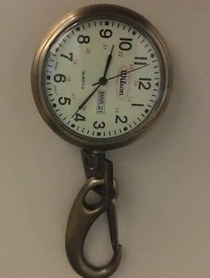 Antique Brass Old Time Pocket Watch Wilson Chain With Date Rare