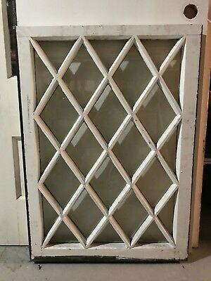 "c1900 Antique MISSION TUDOR Diamond Glass Pane Wood Window Sash 24"" x 34"" (B)"