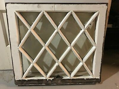"c1900 Antique MISSION TUDOR Diamond Glass Pane Wood Window Sash 24"" x 21.5"" (C)"
