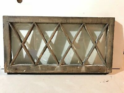 "c1900 Antique MISSION TUDOR Diamond Glass Pane Wood Window Sash 36"" x 18.5"" (F)"