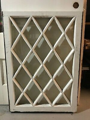 "c1900 Antique MISSION TUDOR Diamond Glass Pane Wood Window Sash 24"" x 34"" (D)"