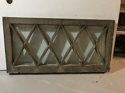 "c1900 Antique MISSION TUDOR Diamond Glass Pane Wood Window Sash 36"" x 18.5"" (E)"