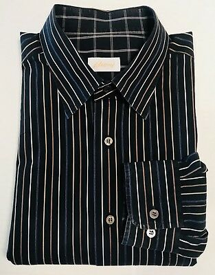 Brioni Italy Button Down Long Sleeve Black & Blue Pinstripe Shirt Mens 17 x 36
