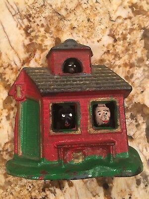 Vintage Cast Iron Metal Dog House Coin Bank