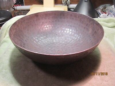 An Antique Primitive Arts & Crafts Hand Pounded Hammered Cast Iron Ringing Bowl