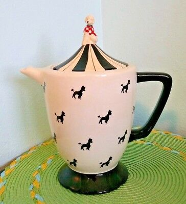 Poodle Dog Figure Teapot Black & Ivory White Ceramic French Country Chic Pitcher