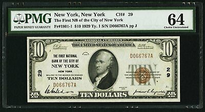$10 1929 The FIRST NATIONAL BANK OF New York 29 PMG 64 1801-1 CHOICE UNC FANCY