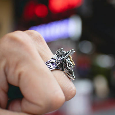 Fashion Man's Stainless Steel Anubis Egyptian Mythology Cross Ring Jewelry Gift
