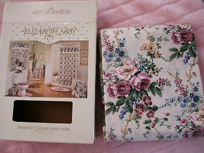 VTG NEW w BOX ELIZABETH GRAY Floral & Embroidered w LINER Cotton Shower Curtain