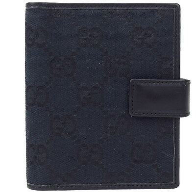 Authentic GUCCI GG Pattern Agenda Cover Day Planner Canvas Leather Black 07A755
