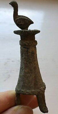 Very Rare Bactrian Bronze Tripod Kohl with Bird Applicator 2000 BC  with COA