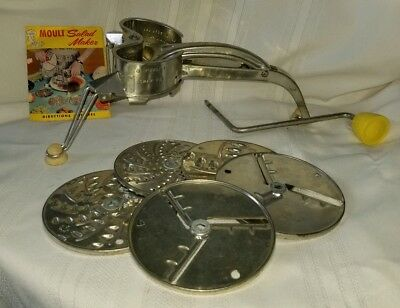 Vintage Mouli-Julienne Slicer Shredder Salad Maker w/ direction & recipe book