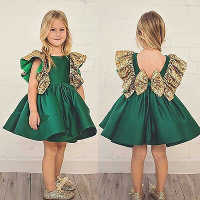 AU Flower Girl Princess Dress Kid Baby Party Wedding Pageant Bow Dresses Clothes