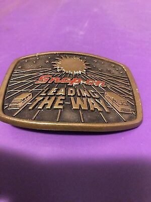 Vintage Brass Snap-On Tool Belt Buckle Leading The Way Delivery Driver