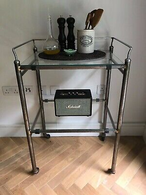 Vintage medical trolley with glass shelves