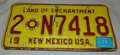 New  Mexico, License Plate, Single Plate, 1971  Sticker,  HOT, RAT, Vintage, (T)