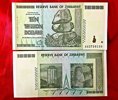 Zimbabwe Banknote 10 Trillion $ Dollars Unc  10T Real Bank Note 2008/aa 100T Sr